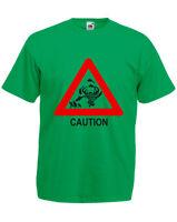 Caution Sharknado Mens Printed T-Shirt Casual Crew Neck Short Sleeves Tee