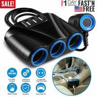 Car 12V 3 way Cigarette Lighter Socket Splitter Three USB Charger Power Adapter