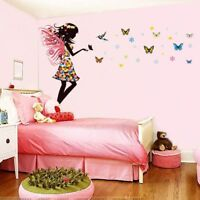 Butterfly Fairy Girl Wall Sticker Kid's Bedroom Self Adhesive Vinyl Art Decal
