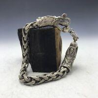 "Old China's Miao silver Handmade Dragon Bracelet 8"""