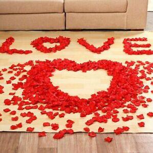 100PCS RED SILK ROSE PETALS FLOWER CONFETTI WEDDING ENGAGEMENT DECORATION G0A B