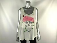 Torrid Tank Top Skull Rose Print Womens 2 Ivory Cami Laced Back Sleeveless
