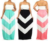 Plus Strapless Boho Maxi Dress Color Block Zigzag Chevron Stripe