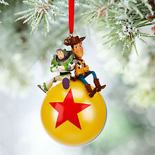 RARE 2015 Disney Store Buzz Lightyear & Woody Sketchbook Ornament Ball Toy Story