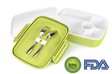 LS Lifestyle Bento Lunch Box 5 Compartments For Kids, Adults Leakproof - Green