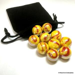 10 x Stunning Opaque Flare Red & Yellow Small 16mm Glass Toy Marbles in Gift Bag