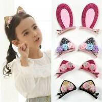 Kids Girls Hairpins Hair Accessories Cute Cat Ears Hair Clips Rainbow Barrettes