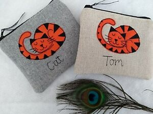 Personalised Ginger Cat Coin Card Purse Grey or Linen Word Choice Dotty lining