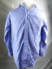 Brooks Brothers Mens Shirt 15-3 Blue White Stripe Long Sleeve Relaxed Fit