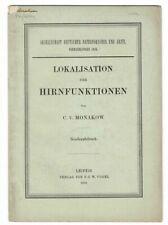 C V Monakow / Lokalisation der hirnfunktionen cover title 1910 Science