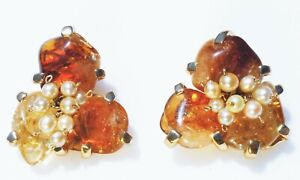 Clip on EARRINGS, flowers, amber cabochons, imitation pearls