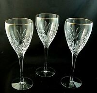 """COURTYARD by Lenox Crystal Gold WATER GOBLETS Red Wine Glasses 8 1/2"""" Set of 3"""