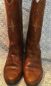 Dingo Heel Western Cowboy Brown Inlay Caps Leather Boots Womens 6.5 USA #37
