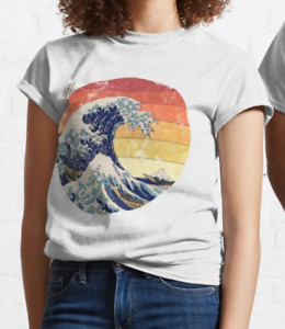 The Great Wave of Kanagawa Retro T shirt %100 Premium Quality