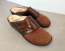 Finn Comfort AUSSEE clog slide mule brown nubuck/patent leather EU 42/US 11-10.5