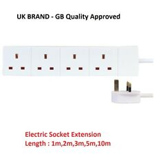BRANDED Extension Lead Cable Electric Plug Socket UK Mains Power 1M 2M 3M 5M UK