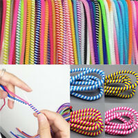 10PCS Spiral Phone USB Data Charging Cable Wire Cord Wrap Protector DIY Winder H