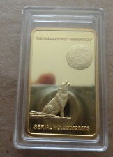 wolf   24 kt gold plated     40 mm bar coin