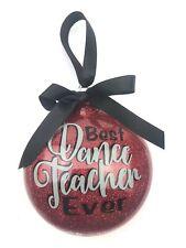 Christmas Ornament Best Dance Teacher Holiday Gift Red glitter plastic hanging