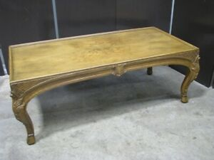 """Baker Furniture """"French Collection"""" Walnut Coffee Table; Hand Carved Details"""
