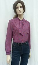 Vintage 1970s/80s Red & Blue Tile Print Pussy Bow Blouse Shirt Secretary 12-14