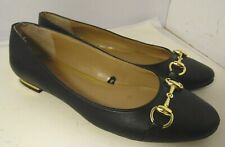 Banana Reuplic Black Leather Flat Mary Janes Slip On Golden Womens SZ 10