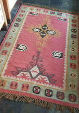 Jute with Wool Kilim Rose, Turquoise 120x180cm Quality Hand Made Reversible rug
