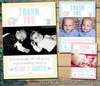 10 Personalised Christening Birthday Thank You Card Boy Girl Photo Elephants Fun