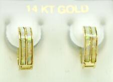 GENUINE OPAL HUGGIES EARRINGS 14k Yellow Gold *** FREE APPRAISAL SERVICE ***