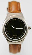 Relic Watch Men Big Tic Brown Leather Stainless Silver Water Resist Black Quartz