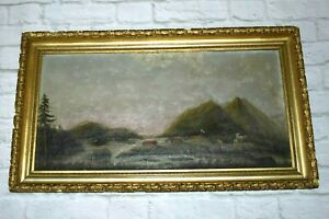 Antique VILLAGE or FORT Oil on Canvas Painting Mountain View Landscape Unsigned
