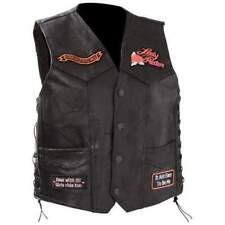 Diamond Plate 8621 Womens Black Leather Motorcycle Vest L BHFO