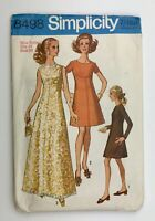 1960's Vintage Sewing Simplicity 3498 Miss Petite Dress in Two Lengths Bust 36""