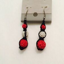 Shamballa Red & White Dangle Earrings