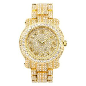 Gold Iced Watch Bling Rapper Simulate Diamond Stone Band Hip Luxury Quartz Hot