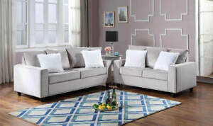 NEW 2PC Sofa Couch Loveseat Set Silver Gray Velvet Modern Living Furniture Set