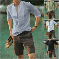 Men Summer Slim Fit Dress Shirt Long Sleeve  Formal Casual T-shirt Top Fashion