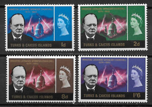 TURKS & CAICOS , 1965 , CHURCHILL , SET OF 4  STAMPS , PERF, VLH