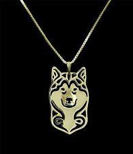 Alaskan Malamute Dog Pendant Necklace -  Fashion Jewellery - Gold Plated