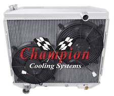 """3 Row Ace Champion Radiator W/ 2 12"""" Fans for 1957 58 1959 Ford Ranchero V8 Eng"""