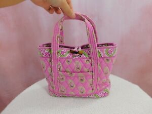 Vera Bradley Paisley Mini Tote Bag Quilted Purse 100% Cotton Pink