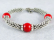 Fashion Red Coral Color Shell Pearl Beads Tibetan Silver Clasp Bangle Bracelet