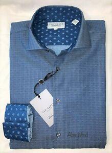 Ted Baker Endurance Bramshi Herringbone L/S Shirt , Navy Blue Mens Size-16 34/35
