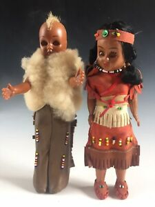 2 x vintage sleepy eye Native American Indian doll - one with mohican - Carlson?