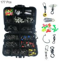 177PCS/SET Crank Hook Snaps Rolling Swivel Fishing Beads Connector W/Tackle Box