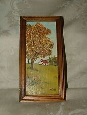 Vintage 1960s Miniature Oil on Board Signed V Cass Naive Primitive Art
