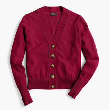 J. Crew Everyday cashmere cropped cardigan sweater Color BURGUNDY Size XS NWT