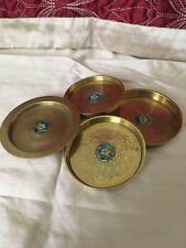 More details for vintage / antique hand painted enameled flower graduating brass coasters