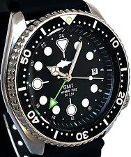 Vintage SEIKO mens diver 7002 GMT mod SWISS dual-time movement w/Black TUNA dial