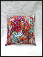 Indian Cushion Pillow Cover Kantha Throw Floral Pillow Case Ethnic Decor Art